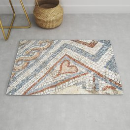 Mosaic Heart | Cute Red Blue and White Tile Old World Charming Decorative Cool Stone Photograph Rug