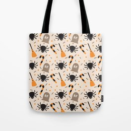 Happy halloween brooms, graves, spiders and sweets pattern Tote Bag