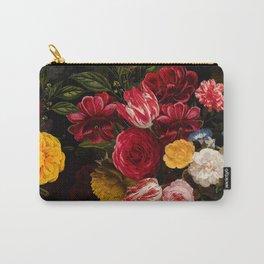 Dutch Vintage Midnight Flower Garden Carry-All Pouch