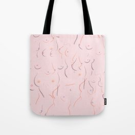 Breasts in Millennial Pink Tote Bag