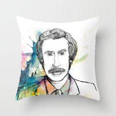 Ron Burgundy, Anchorman of Legend Throw Pillow