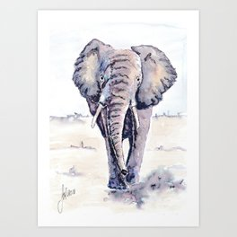 Elephant on a mission Art Print