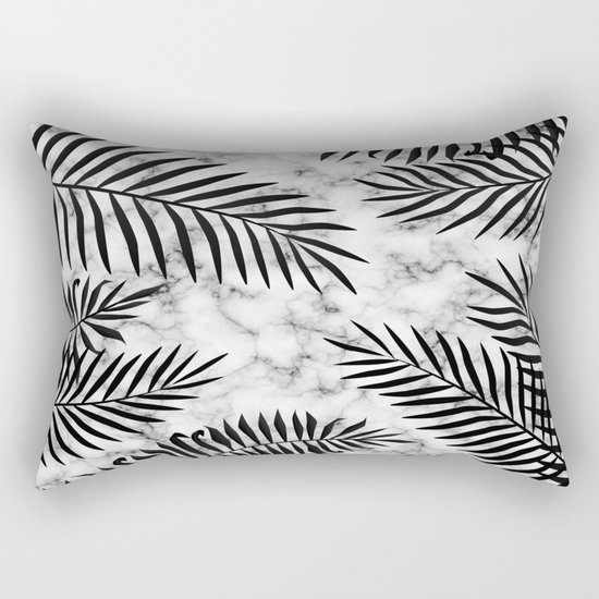 Black palm leaves on marble Rectangular Pillow