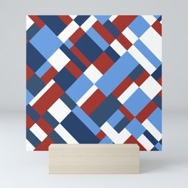 Map 45 Red White and Blue Mini Art Print