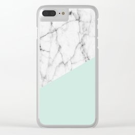 Real White marble Half pastel Mint Green Clear iPhone Case
