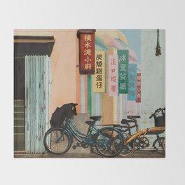 Bicycle Shadows Throw Blanket