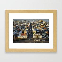 Downtown Reykjavík Tilt-Shift Framed Art Print