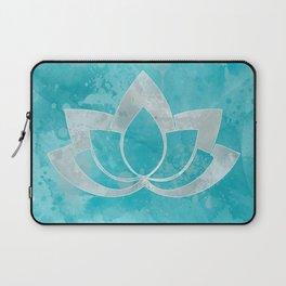 Lotus Flower on Aqua Laptop Sleeve