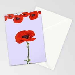 MODERN RED-ORANGE POPPIES DESIGN Stationery Cards