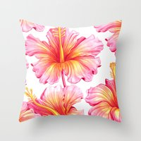 hibiscus Throw Pillows featuring Hibiscus by Sanjana Baijnath