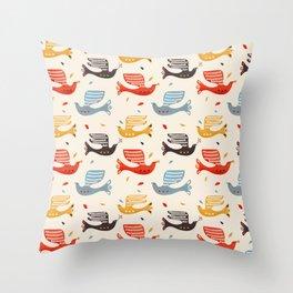 Festive Birds retro pattern Throw Pillow