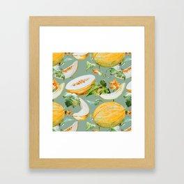 Honeydew Melon Pattern Framed Art Print