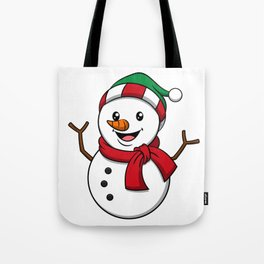 Cute Snowman Winter Cap Scarf Gift Idea Tote Bag