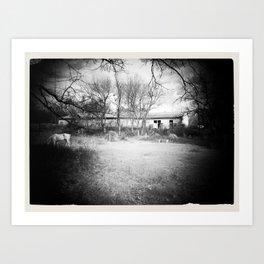 Old Barn B&W Art Print