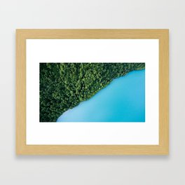 Baby Blue Water With Greeny Green Trees Framed Art Print