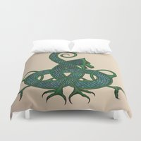 celtic Duvet Covers featuring Celtic Dragon by Erin Malbuisson-Delaney