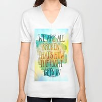 hemingway V-neck T-shirts featuring We are All Broken Ernest Hemingway Quote by Ginkelmier