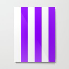 Wide Vertical Stripes - White and Violet Metal Print