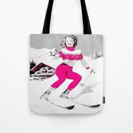 Snow Bunny Pin Up Girl Pink Tote Bag