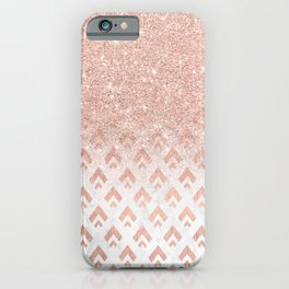 Faux rose gold glitter ombre rose gold foil triangles chevron geometric on white marble iPhone Case