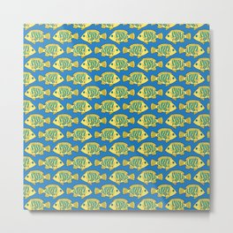 Tropical Fish in Pastel - Doodle Pattern Metal Print