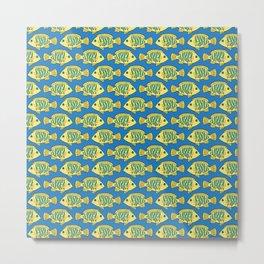 Tropical Fish in Pastel - Doodle Pattern Metal Print