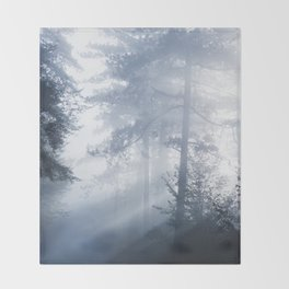 Sun rays shinning through foggy forest Throw Blanket