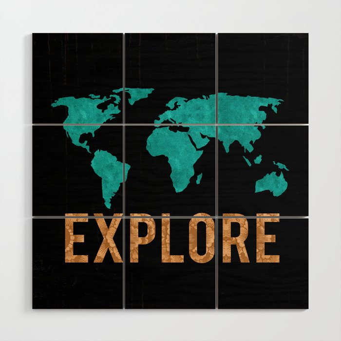 World Map - Teal and Copper Explore Globe Wood Wall Art by mapmaker ...