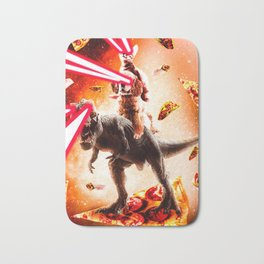 Laser Eyes Space Cat Riding Dog And Dinosaur Bath Mat