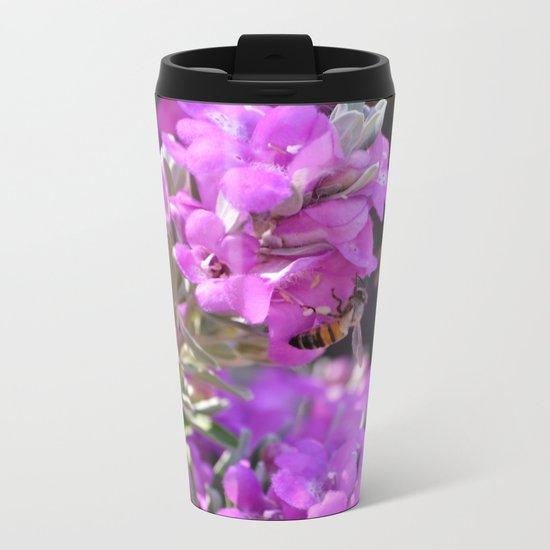 Bubble Bee on Lilac Flowers Metal Travel Mug