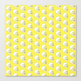 White Skull Pattern with Light Yellow Background Canvas Print