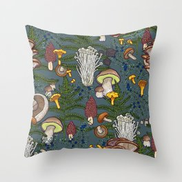 mushroom forest Throw Pillow