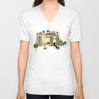 castle V-neck T-shirts featuring castle  by Design4u Studio