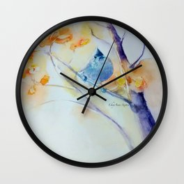Nuthatch Aspen Morning Looking Up watercolour by CheyAnne Sexton Wall Clock