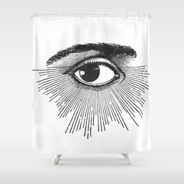 I See You. Black and White Shower Curtain