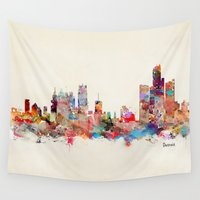 detroit Wall Tapestries featuring detroit michigan by bri.buckley