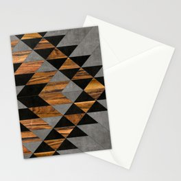 Urban Tribal Pattern No.10 - Aztec - Concrete and Wood Stationery Cards