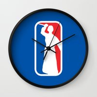 league Wall Clocks featuring Psycho League by dutyfreak
