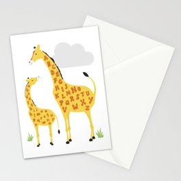 giraffe alphabet Stationery Cards