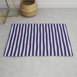 Blue and Pink Cabana Stripes Palm Beach Preppy Rug