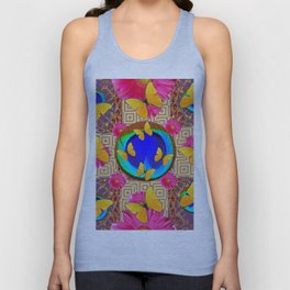 Fuchsia  Pink Yellow Butterflies Blue Patterns Unisex Tank Top