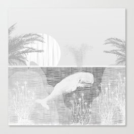 Tropical Black and White Vintage Whale Design Canvas Print