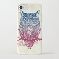 burgundy iPhone & iPod Cases featuring Evening Warrior Owl by Rachel Caldwell