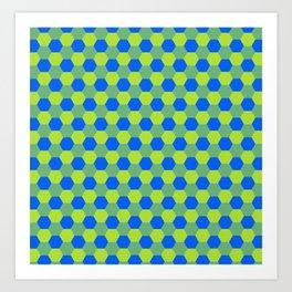 Yellow and blue honeycomb pattern Art Print