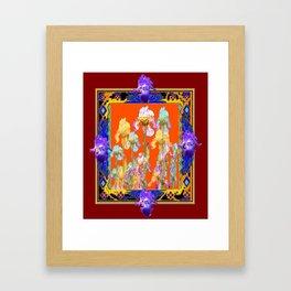 Burgundy Framed Ornate Iris Garden Design. Framed Art Print