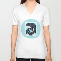 the whale V-neck T-shirts featuring Whale by Rodrigo Fortes