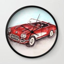 Watercolor Red Vintage Car Wall Clock