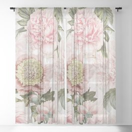 Vintage & Shabby Chic - Antique Pink Peony Flowers Garden Sheer Curtain
