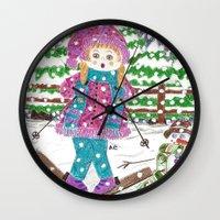 ski Wall Clocks featuring Ski girl by iCraftCafé