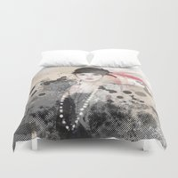 fashion illustration Duvet Covers featuring FASHION ILLUSTRATION 12 by Justyna Kucharska